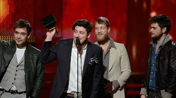 LOS ANGELES, CA - FEBRUARY 10:  (L-R) Musicians Ben Lovett, Marcus Mumford, Ted Dwane and Winston Marshall of Mumford & Sons accept Album of the Year award for 'Babel' onstage at the 55th Annual GRAMMY Awards at Staples Center on February 10, 2013 in Los Angeles, California.  (Photo by Kevork Djansezian/Getty Images)
