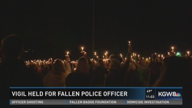 Vigil held for fallen police officer