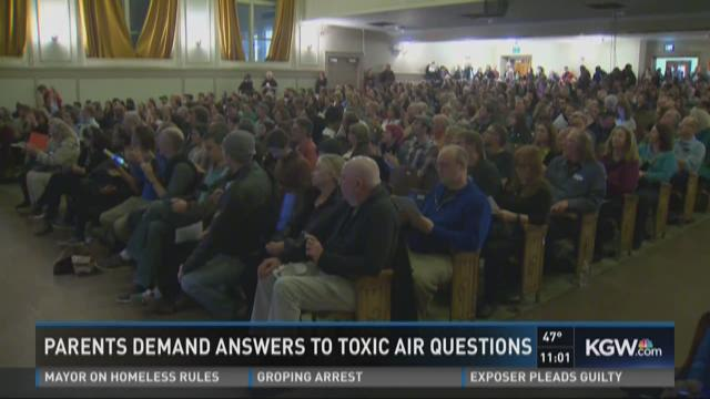 Parents demand answers to toxic air questions