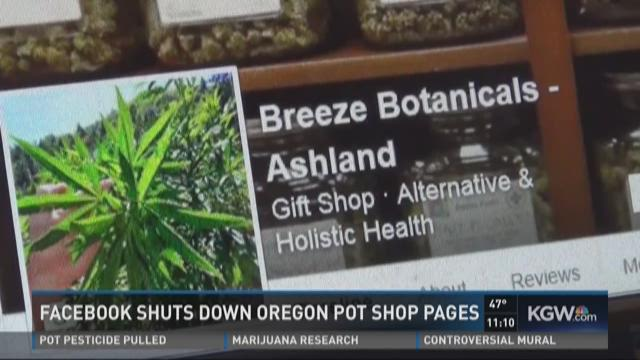 Facebook shuts down Oregon pot shop page