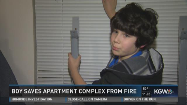 Boy saves apartment complex from fire
