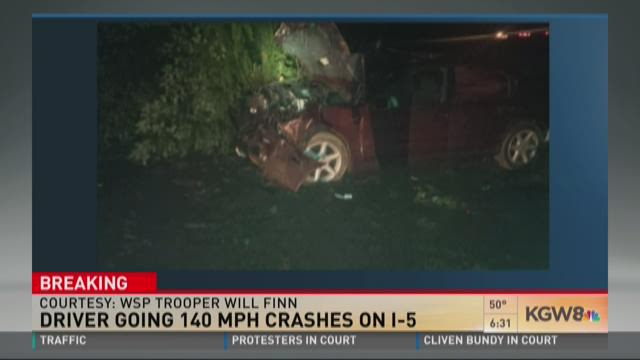 Driver going 140 mph crashes on I-5