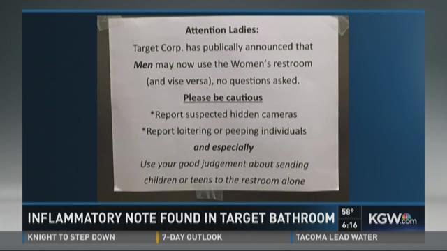Inflammatory transgender note posted in Keizer Target restroom