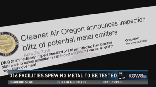 DEQ Testing concerns: 316 facilities monitored for use of metals