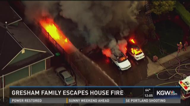 Family Escapes Gresham House Fire