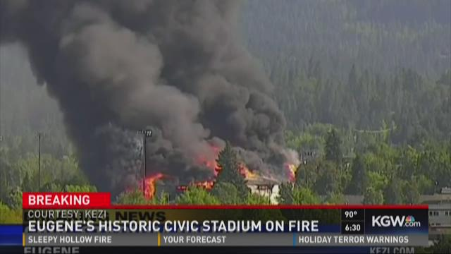 Dozens of firefighters responded to the Civic Stadium