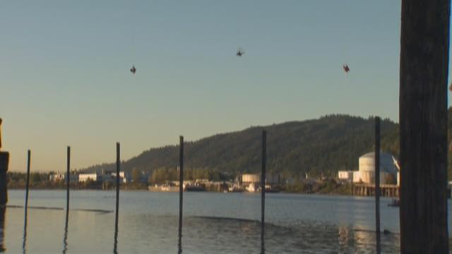 Activists dangle from the St. Johns Bridge and float