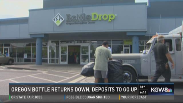 Oregon bottle returns down, deposits to go up