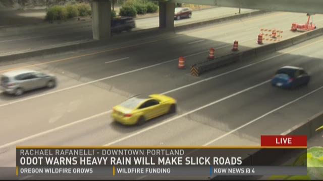 ODOT warns heavy rain will make slick roads