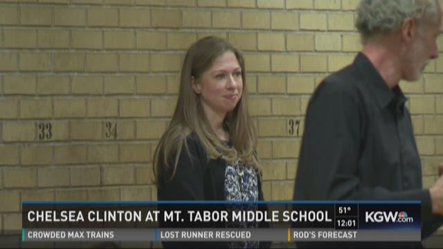 Chelsea Clinton talks at Mount Tabor Middle School